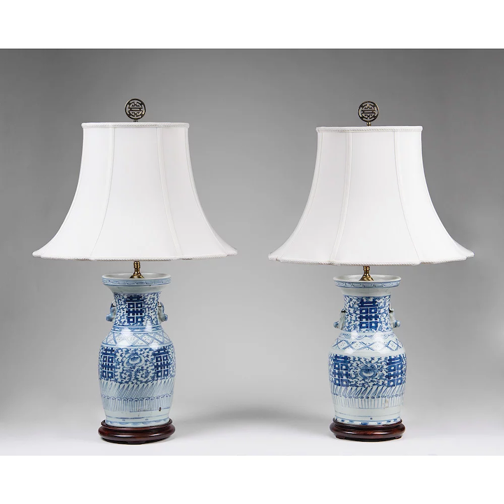 Pair Of Blue White Chinese Export Lamps