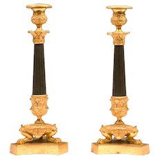 Pair of French Empire Patinated Bronze Candlesticks