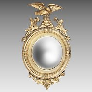 19th C. Regency Style Giltwood Convex Bullseye Mirror