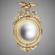 19th C. Regency Style Giltwood Convex Bullseye Mirror