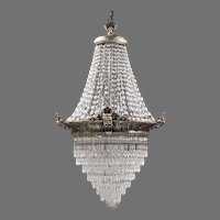 Opera House Tiered Silverplated Chandelier, 1920