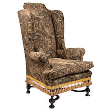 Late 18th C. William And Mary Wing Back Chair