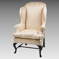 18th C. Georgian Queen Anne Mahogany Wing Chair