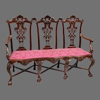 19th C. Triple Section Irish Chippendale Mahogany Carved Settee