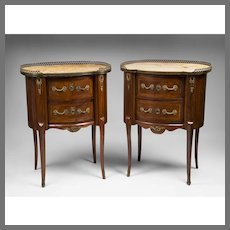 Pair of Early 20th C. French Louis XV Style Commodes Or Nightstands