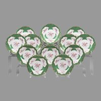 Twelve 19th C. English Porcelain Hand Painted Luncheon Plates