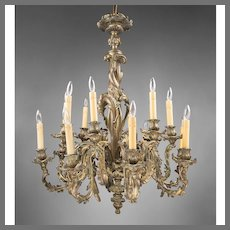 Late 19th C. Bronze Rococo 18 Light Chandelier