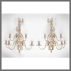 Pair of Silverplated Brass Dutch Style 7-Arm Tiered Sconces