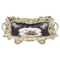 1840 Chamberlain Worcester Topographical Shell Encrusted Card Tray