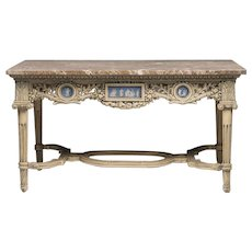 English Adams Style Late 19th C. Coffee Table With Wedgwood Plaques