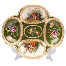Helena Wolfsohn Dresden Hand Painted Quatrefoil Plate