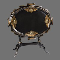 Late 19th C. French Tilt Top Papier Mache, Abalone Shell, Tea Table