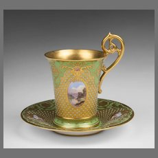 Late 19th C. Coalport Exhibition Scenic Jeweled Cup & Saucer