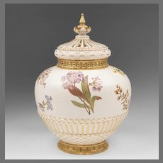 Royal Worcester Potpourri Vase Liner And Cover, 1889