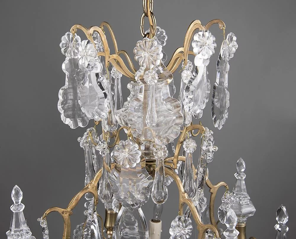 Louis Xv Style Cut Crystal Pendalogue And Bronze