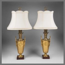 Pair of Napoleon III Neoclassical Bronze Urns Fitted As Lamps