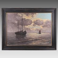 Early 20th C. Impressionist Seascape Oil Painting By Leo von Konig