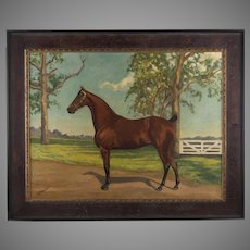 Early 20th C. Equestrian Oil On Canvas By T. F. Emmons