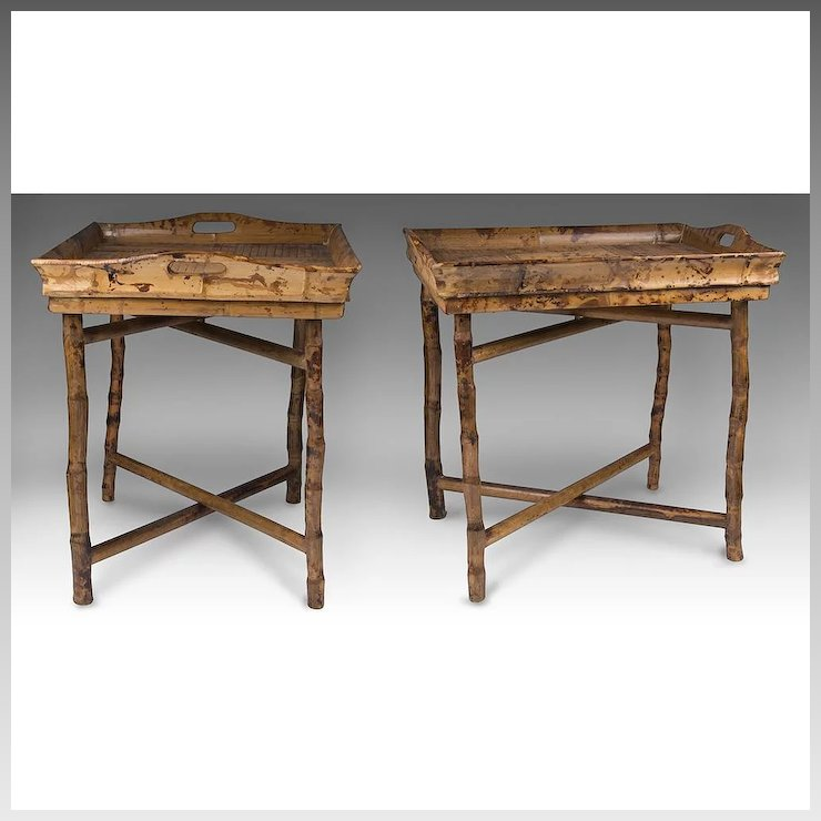 Matched Pair Of Vintage Bamboo Tray Top Tables On X Crossed Folding Stands