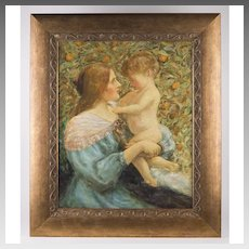 Late 19th C. Impressionist Pre-Raphaelite Style Oil On Board Of Mother And Child