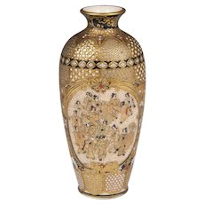 Miniature Satsuma Meiji Period Baluster Form Vase