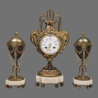 1900 Tiffany & Company Louis XVI Style French Garniture Clock Set
