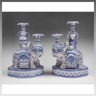 Bjorn Wiinblad Elephant Candlesticks, King And Queen Of Sheba