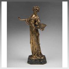 19th C. Bronze Figure of Woman With Fan