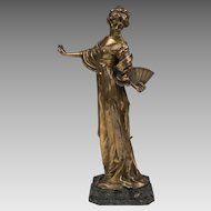19th C. Bronze Figure of Woman With Fan