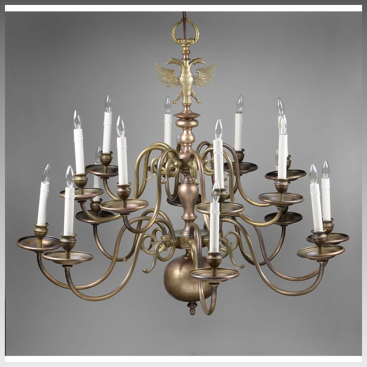 Early 20th c 16 light brass flemish chandelier with double eagle early 20th c 16 light brass flemish chandelier with double eagle aloadofball Images