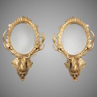 Pair of Early 20th C. Giltwood Carved Rococo Deer Head Mirrors