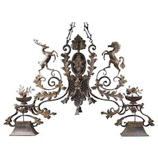 Custom Made Vintage Iron Horse and Stag Billiard Light Fixture