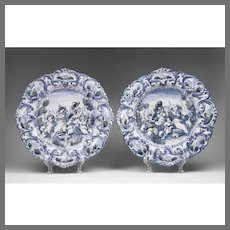19th C. Pair of Delft Style Faenza Italian Chargers