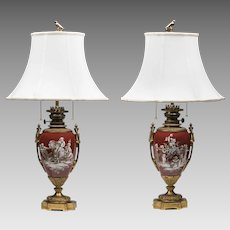 19th C. Empire Paris Porcelain Ormolu Mounted Grisaille Enameled Lamps
