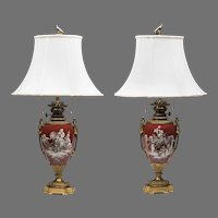 19th C. Empire Paris Porcelain Ormolu Mounted Grisaille Enameled Lamps