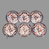Set of 6 English Ironstone Imari Dinner Plates, 19th C