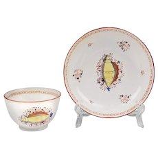 1800 Staffordshire Creamware Tea Bowl & Saucer With Shell Motif