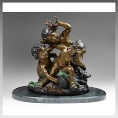 Bronze Figural Group Of Three Putti After Charles Raphael Peyre