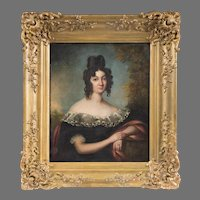 19th C. Oil Painting Of Bavarian Beauty After Joseph Stieler