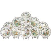 Set of 12 Early 20th C. Royal Doulton Cabinet Plates Depicting the Legend of the Willow Pattern