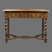 Late 18th C. Continental Baroque Writing Table With Barley Twist Legs