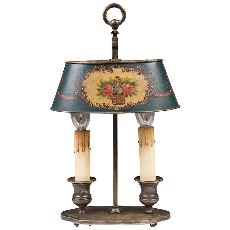 Early 20th C. Petite Bouillotte Lamp With Tole Peinte Shade