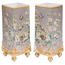 Pair of Paris Porcelain Platinum Ground Hand Painted Vases
