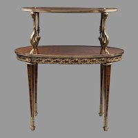 Early 20th C. Louis XVI Style Marquetry Two Tiered Pastry Or Tea Table
