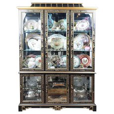 Mid 20th C. Black Lacquer Chinoiserie China Cabinet
