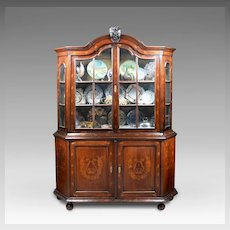 18th C. Dutch Marquetry Bookcase Cabinet With Glazed Doors