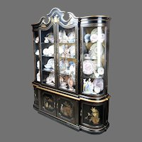 Mid Century Black Lacquer China Cabinet With Four Doors