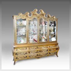 Venetian Style Gold Lacquer China Cabinet With Chinoiserie Figures