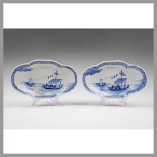 Pair of 19th C. Blue & White Chinese Export Lozenge Lobed Dishes