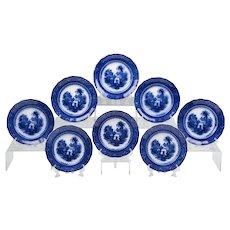Set Of Eight Burgess & Leigh Flow Blue Italia Pattern Plates
